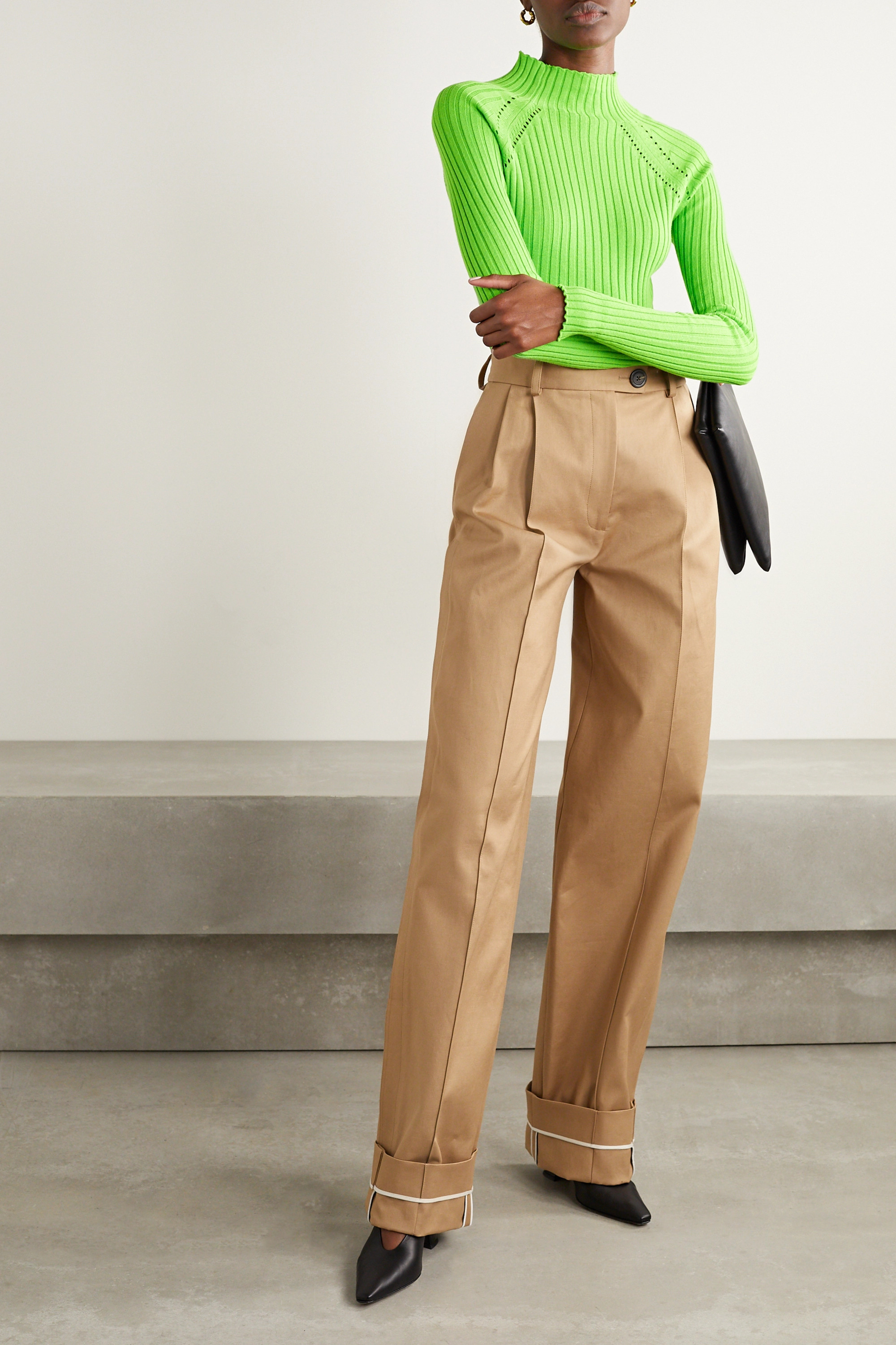 ANNA QUAN Blake neon pointelle-trimmed ribbed cotton sweater