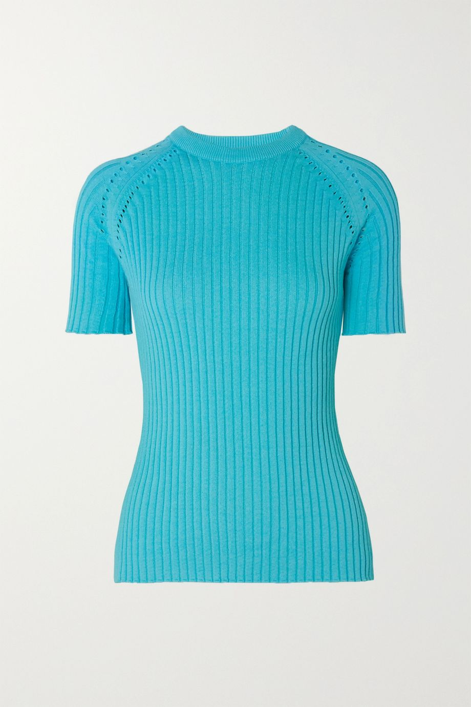 ANNA QUAN Billie pointelle-trimmed ribbed cotton sweater