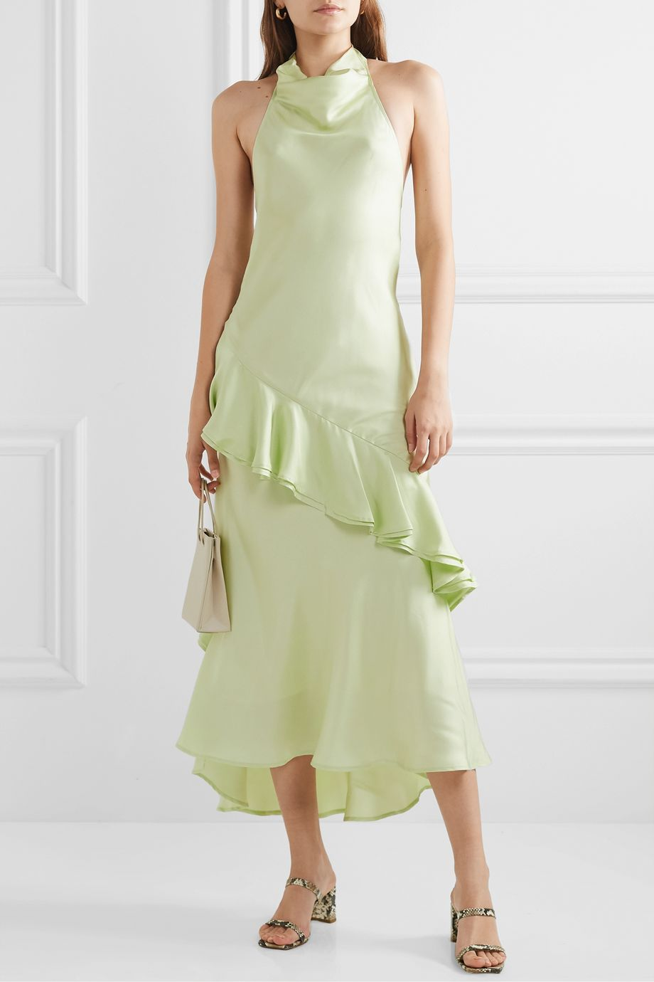 Maggie Marilyn + NET SUSTAIN Palm Springs draped ruffled silk-satin twill midi dress