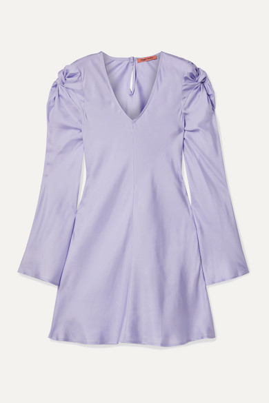 Maggie Marilyn Dresses JUST IN TIME KNOTTED SILK-SATIN MINI DRESS