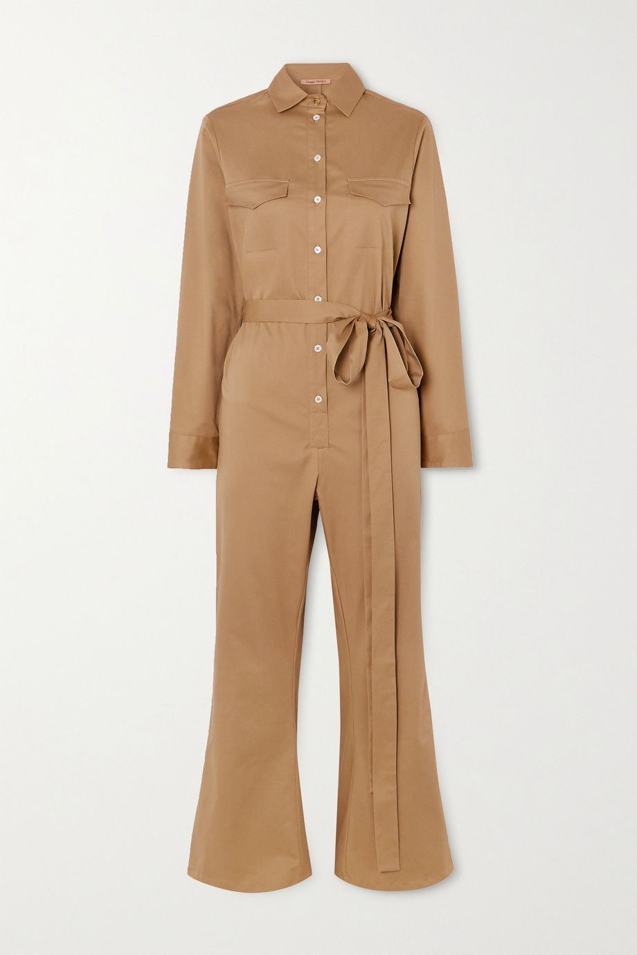 Maggie Marilyn + NET SUSTAIN Bite the Bullet cropped belted cotton-blend twill jumpsuit