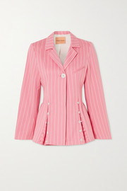 + NET SUSTAIN Follow Your Heart pinstriped organic-cotton twill blazer