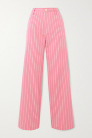 + NET SUSTAIN Powerful In Pink pinstriped organic-cotton twill wide-leg pants