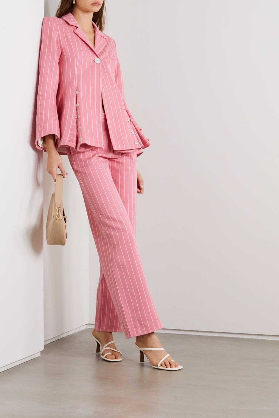 Maggie Marilyn + NET SUSTAIN Powerful In Pink pinstriped organic-cotton twill wide-leg pants