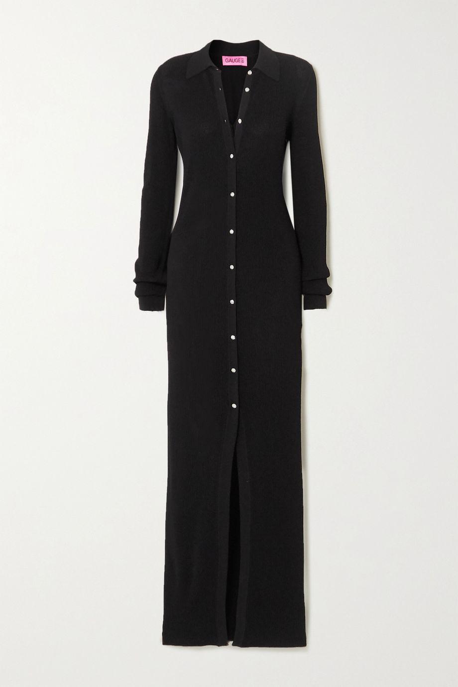 GAUGE81 Bern Swarovski crystal-embellished ribbed stretch-jersey maxi dress