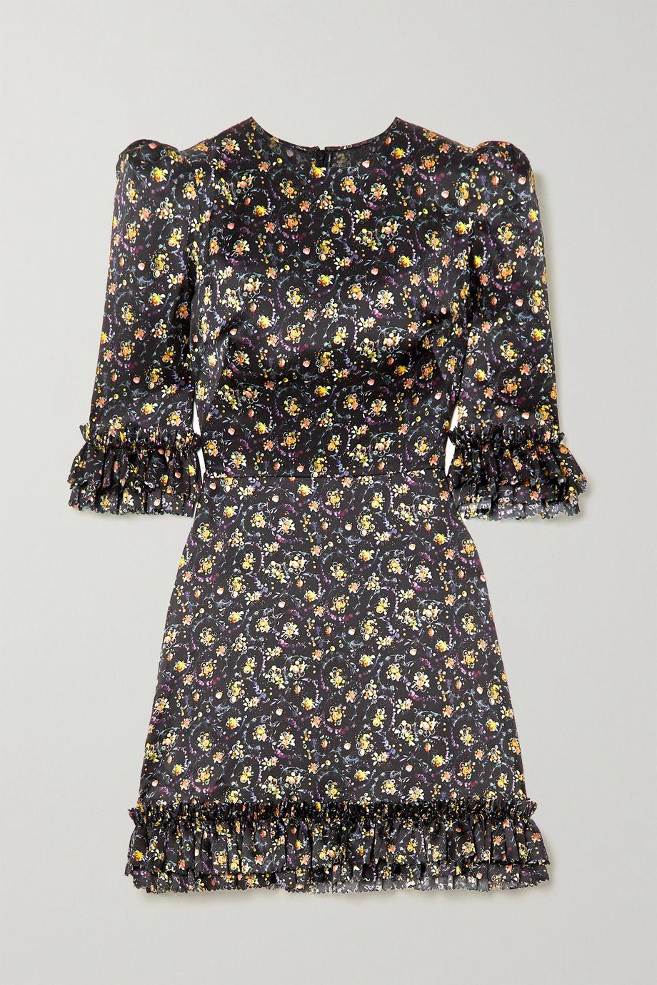 The Vampire's Wife Ruffled floral-print silk-satin mini dress