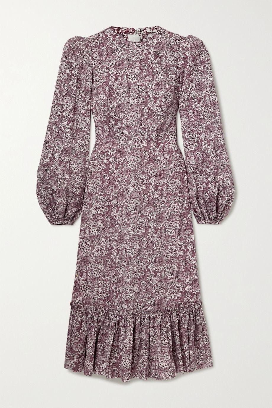 The Vampire's Wife Belle tiered floral-print cotton-poplin midi dress