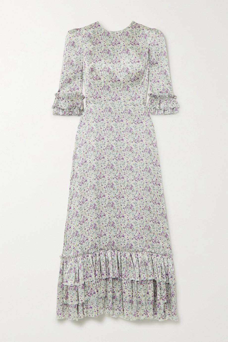 The Vampire's Wife Cinderella ruffled floral-print silk-satin maxi dress