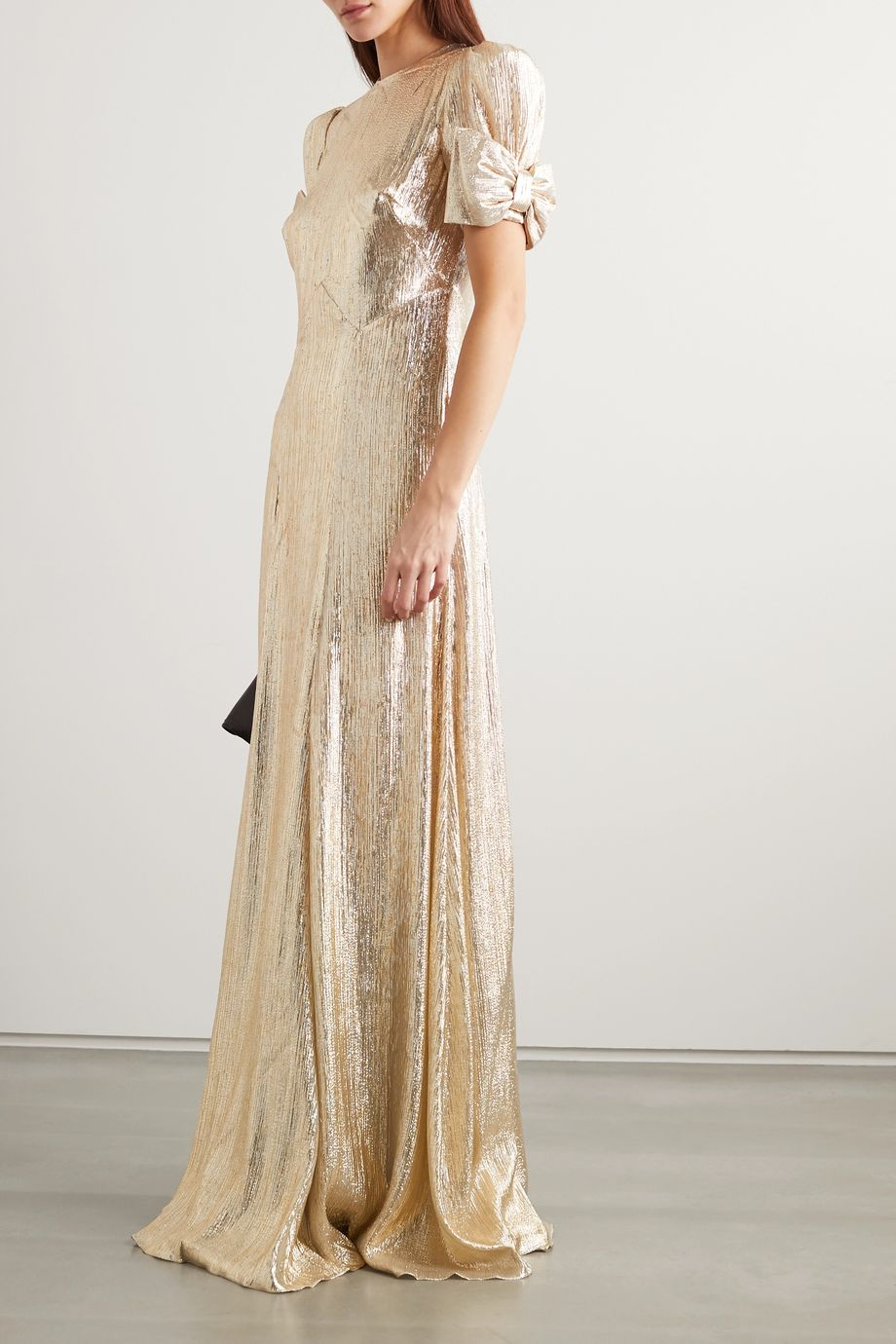 The Vampire's Wife The American Chevron bow-detailed wool-blend lamé gown