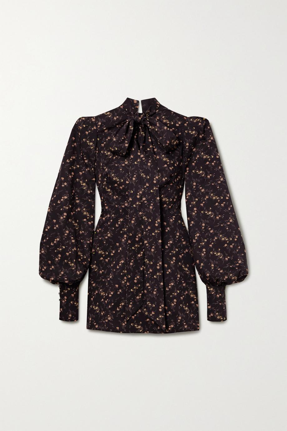 The Vampire's Wife Pussy-bow floral-print cotton-poplin mini dress