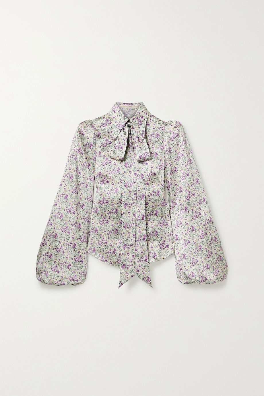 The Vampire's Wife Total Mayhem pussy-bow floral-print silk-satin blouse
