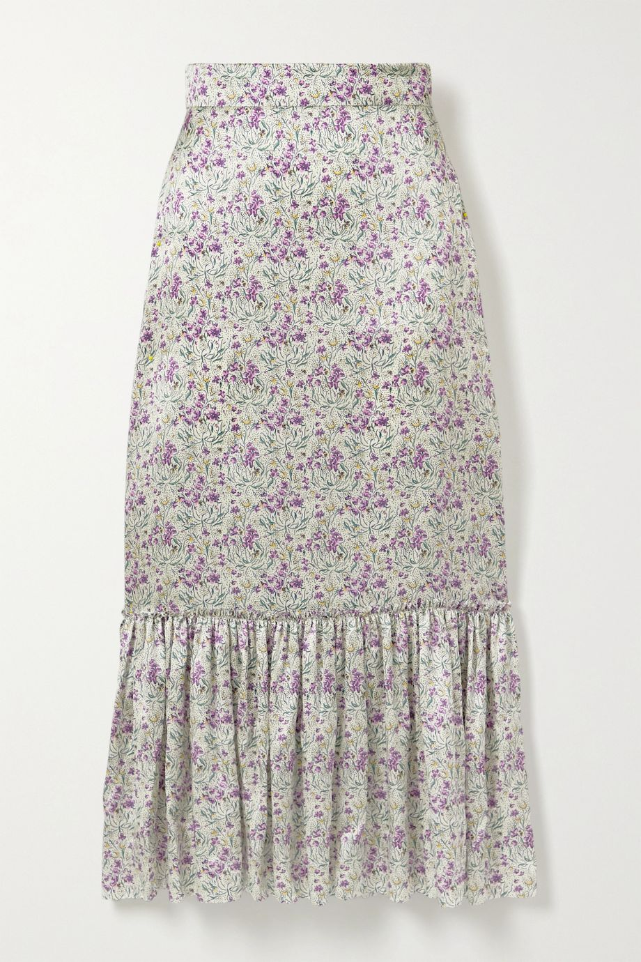 The Vampire's Wife Tiered floral-print silk-satin midi skirt
