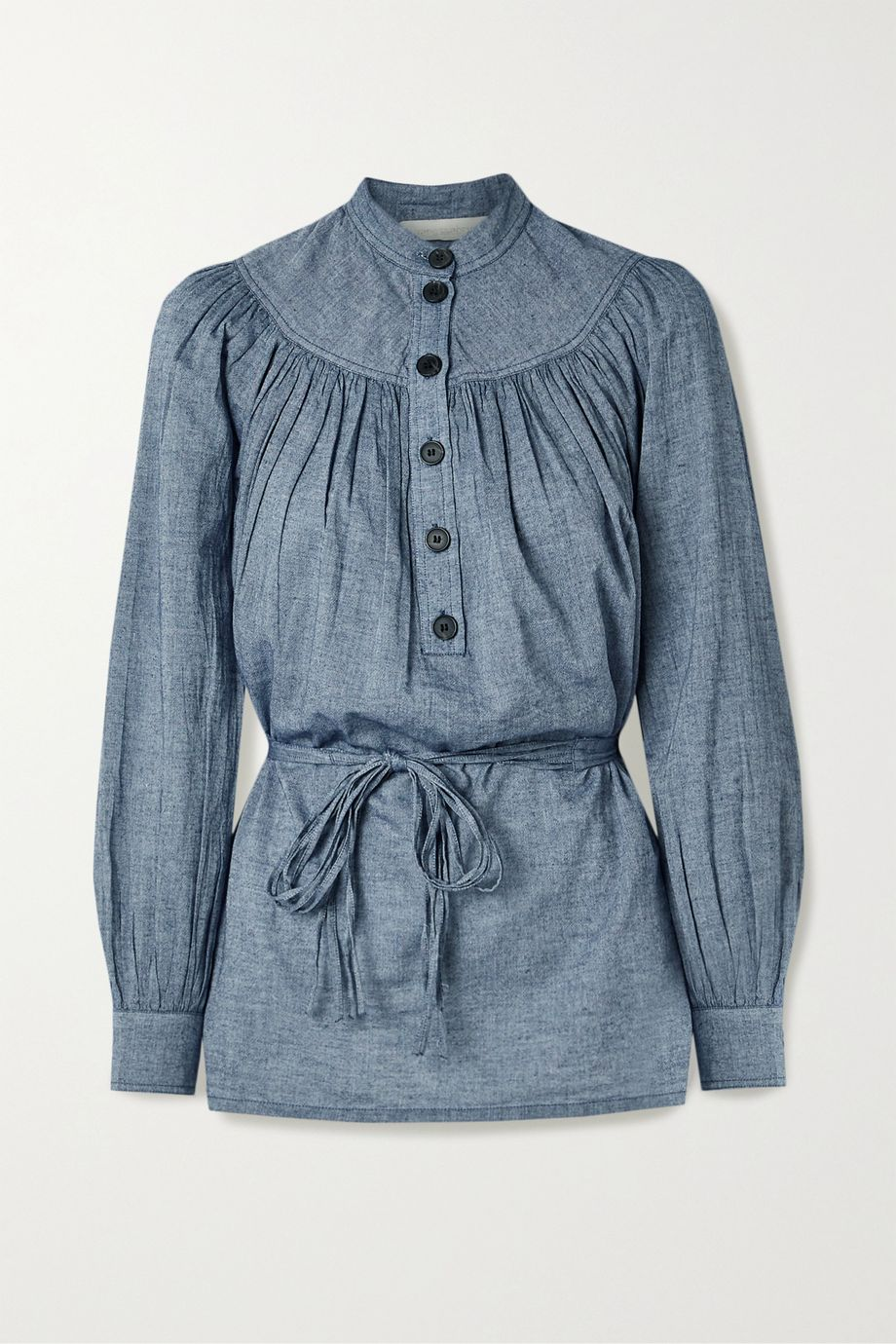 Vanessa Bruno Noa belted gathered cotton-chambray blouse