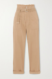 Epagny belted frayed cotton-blend canvas tapered pants