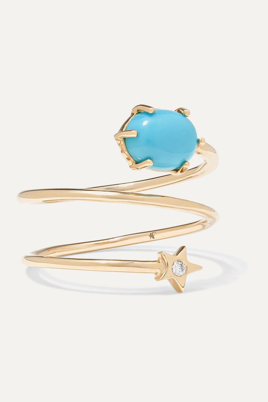 Andrea Fohrman Mini Cosmo 14-karat gold, turquoise and diamond ring