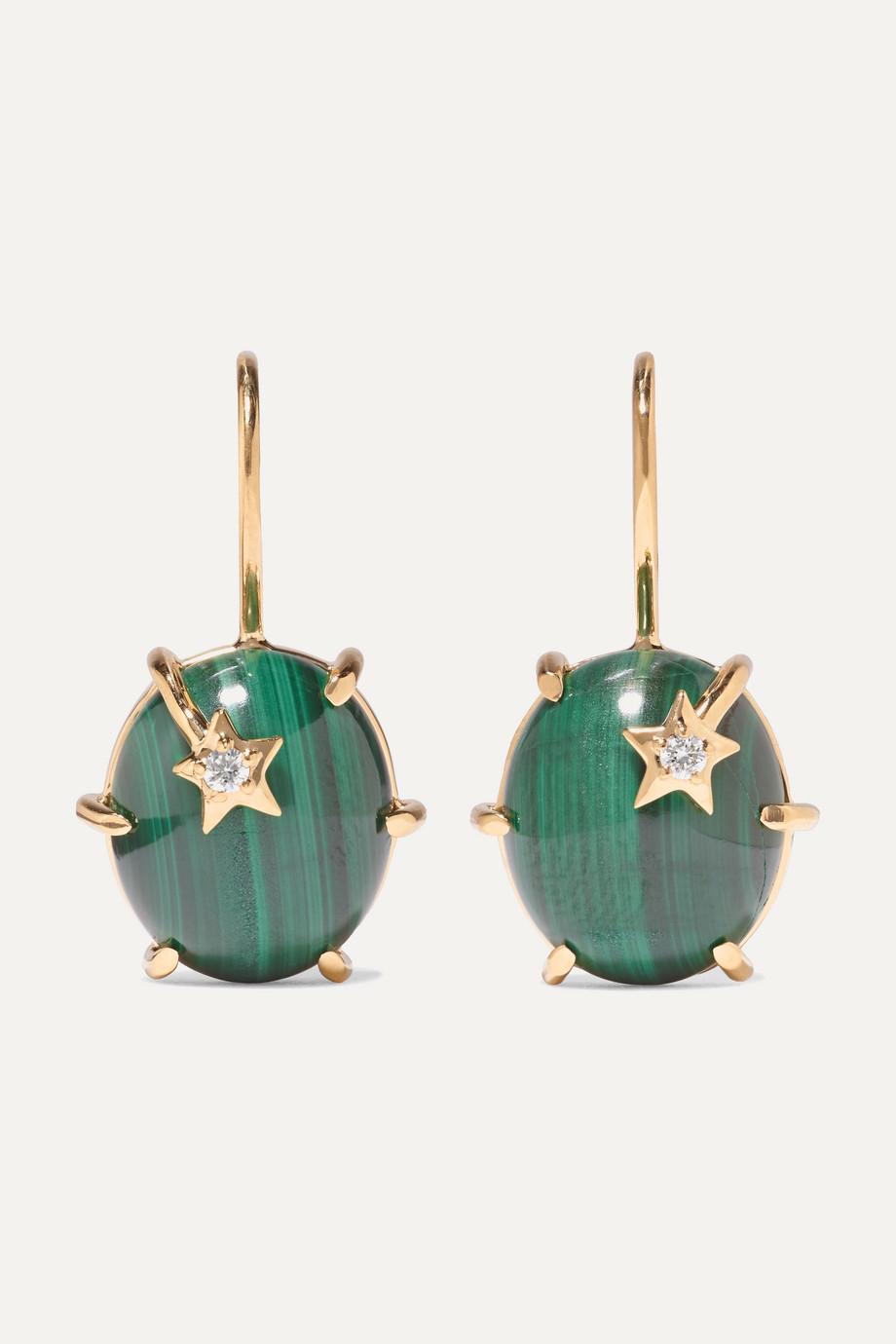 Andrea Fohrman Mini Galaxy 18-karat gold, malachite and diamond earrings