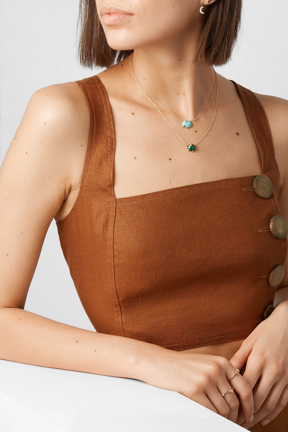 Andrea Fohrman Collier en or 18 carats, malachite et diamant Mini Galaxy