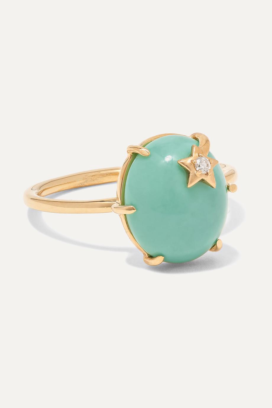 Andrea Fohrman 18-karat gold, turquoise and diamond ring