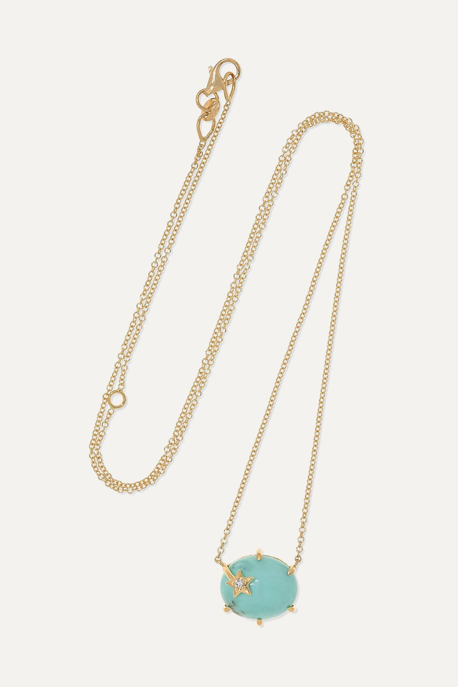 Andrea Fohrman Collier en or 18 carats, turquoise et diamant Mini Galaxy