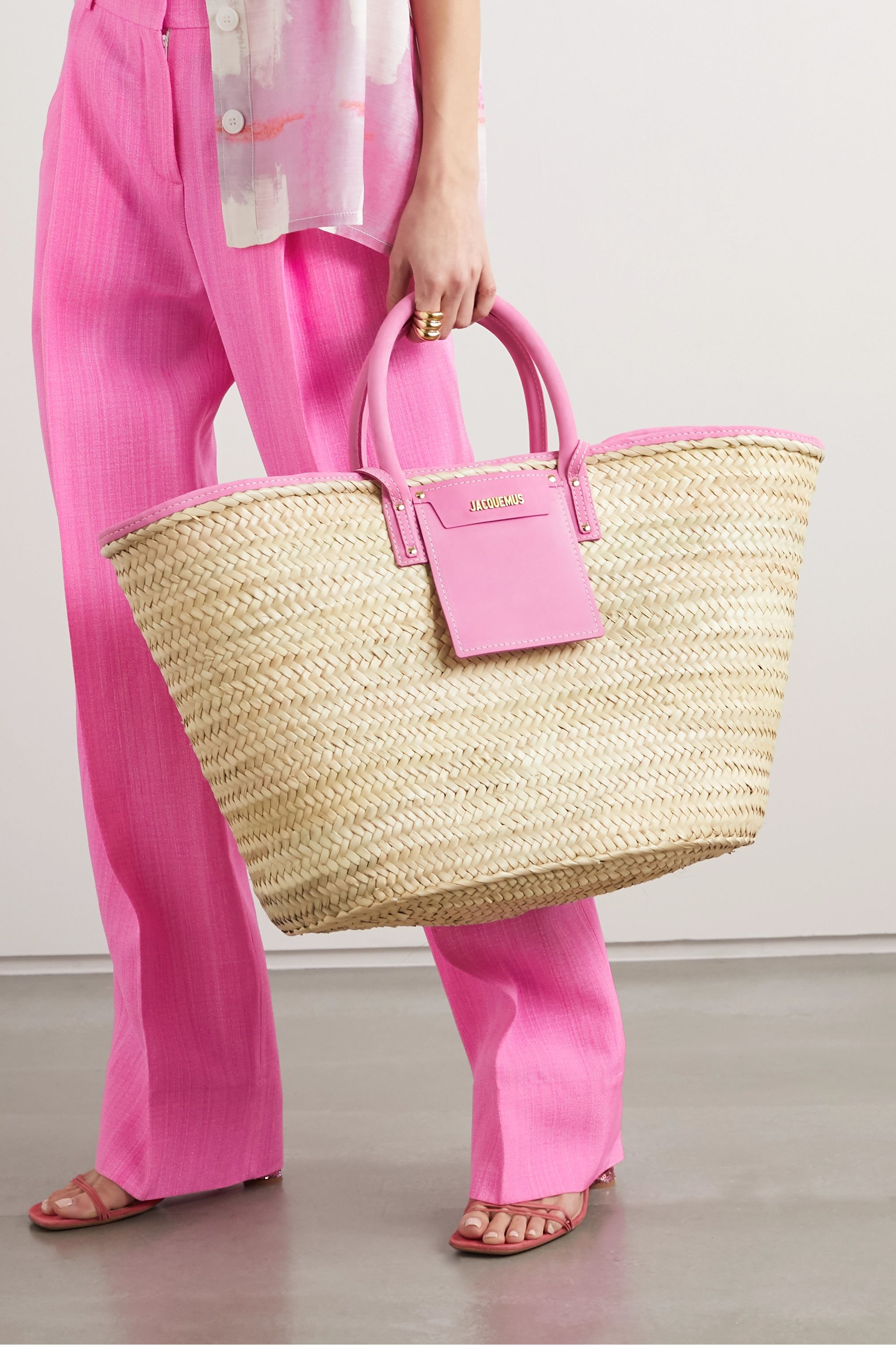 Jacquemus Soleil large nubuck-trimmed straw tote