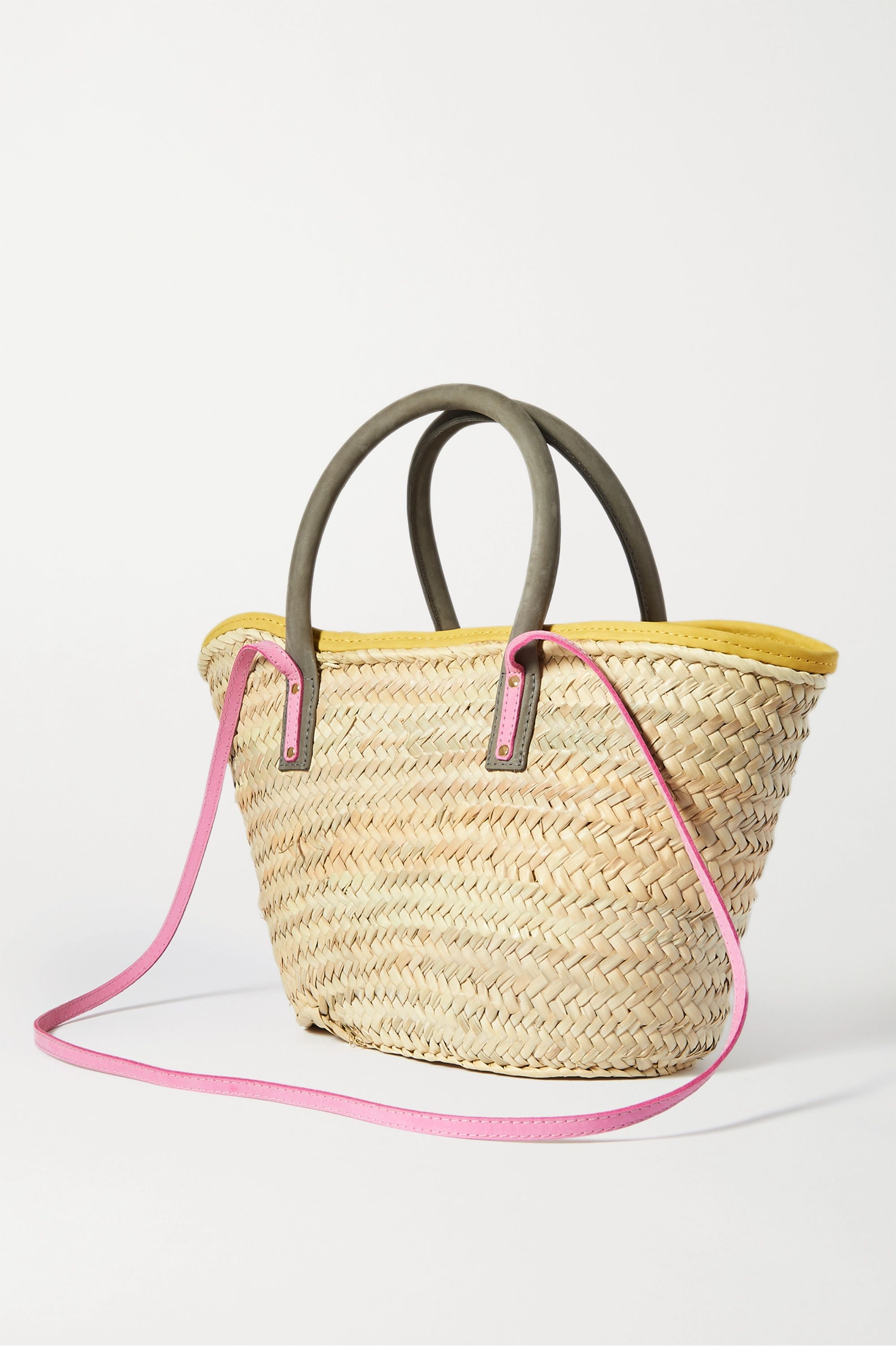 Jacquemus Soleil nubuck-trimmed straw tote