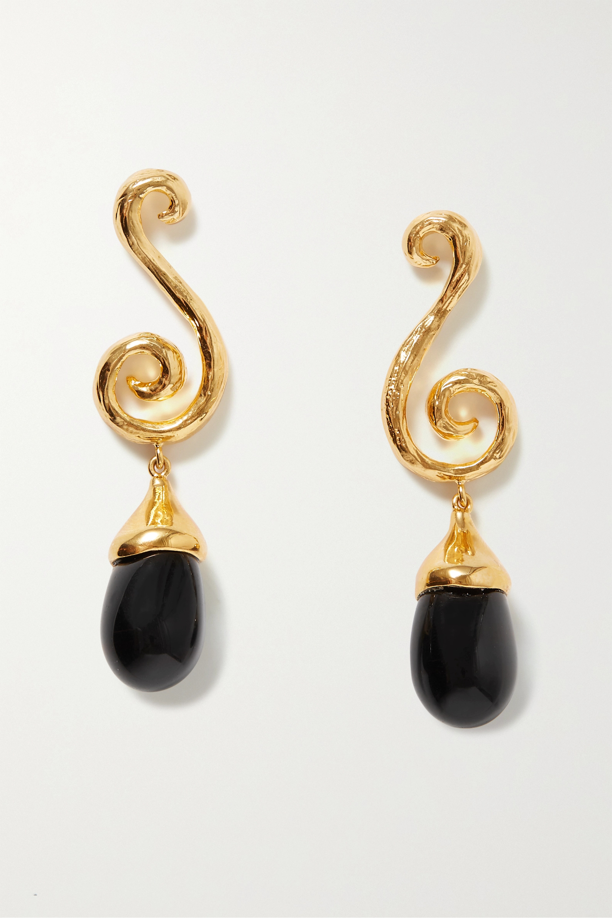 Sophie Buhai + NET SUSTAIN Spiral gold vermeil and glass earrings