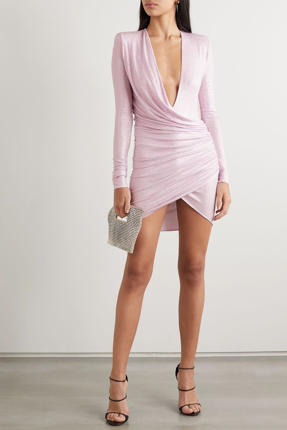Alexandre Vauthier Ruched crystal-embellished stretch-jersey mini dress