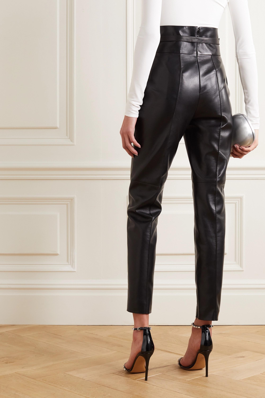 Alexandre Vauthier Lederhose mit geradem Bein und kristallverziertem Gürtel