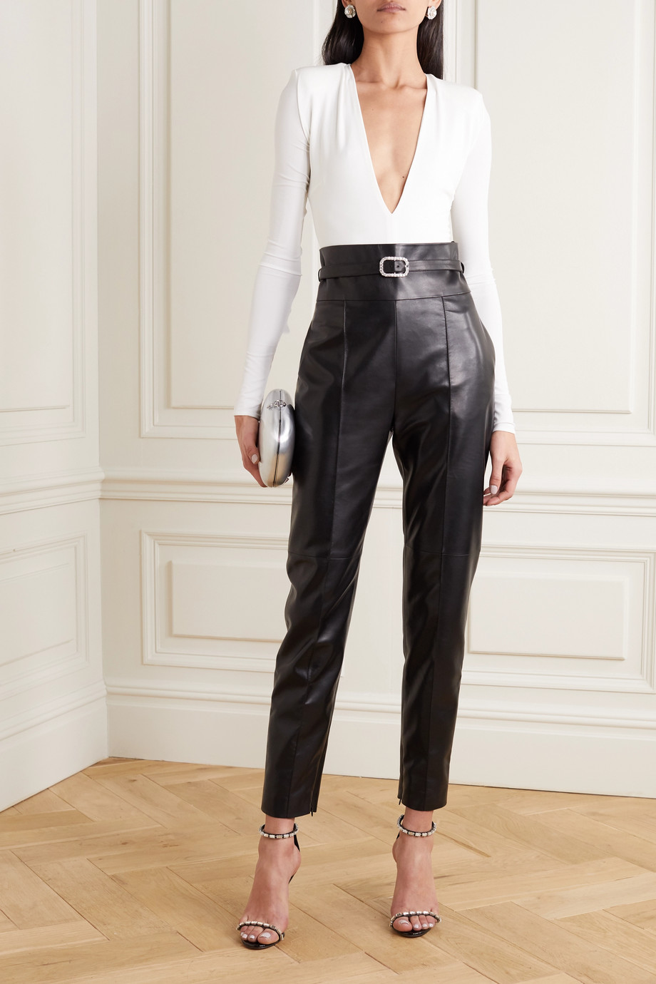 Alexandre Vauthier Crystal-embellished belted leather straight-leg pants