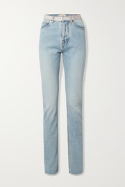Alexandre Vauthier Crystal-embellished frayed high-rise straight-leg jeans