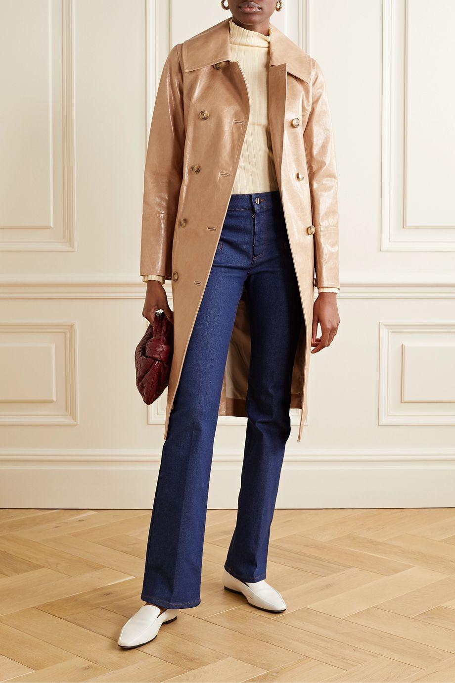 Yves Salomon Cracked patent-leather trench coat