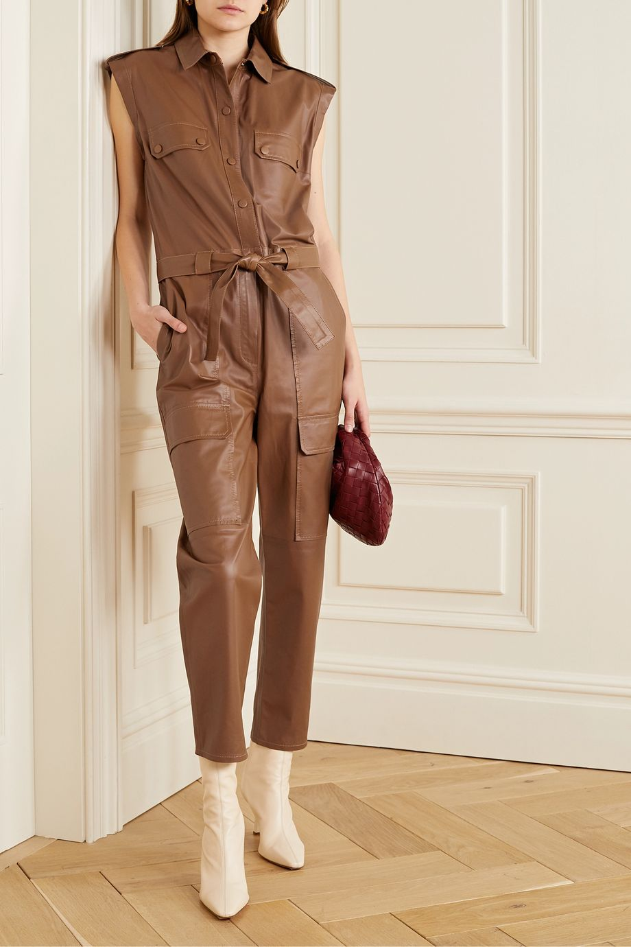 Yves Salomon Belted leather jumpsuit