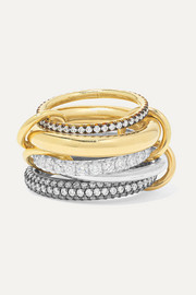 Spinelli Kilcollin Leilani set of five 18-karat gold and rhodium-plated sterling silver diamond rings