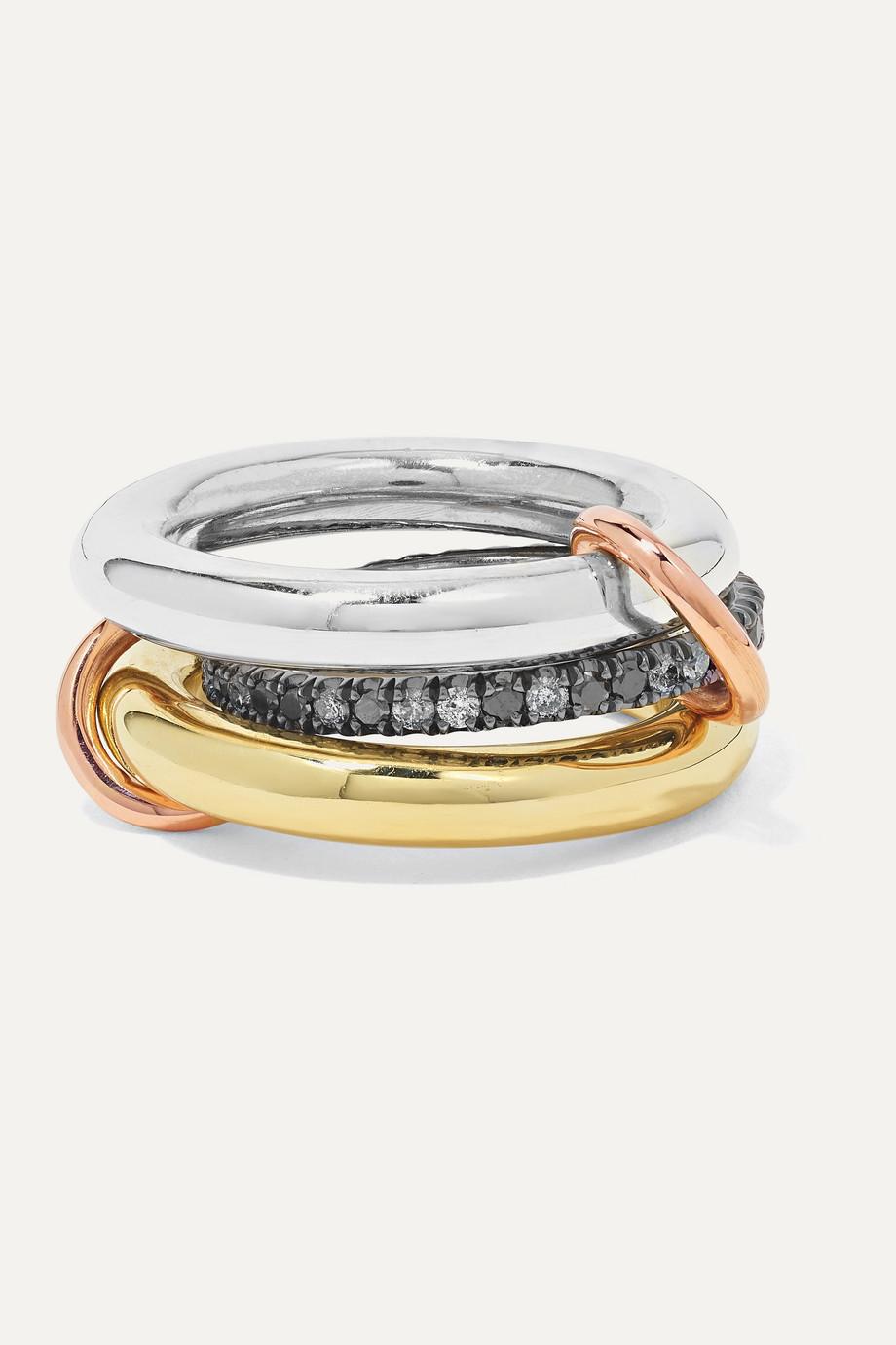 Spinelli Kilcollin Libra Set aus drei Ringen aus 18 Karat Gelb- und Roségold und rhodiniertem Sterlingsilber mit Diamanten