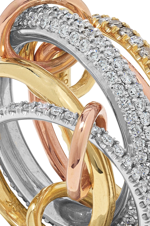 Spinelli Kilcollin Leo Blanc set of five 18-karat white, yellow and rose gold diamond rings