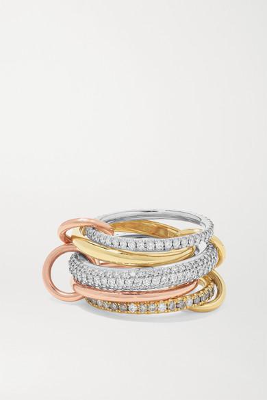 Spinelli Kilcollin - Leo Blanc Set Of Five 18-karat White, Yellow And Rose Gold Diamond Rings - 6