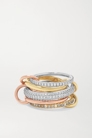 Spinelli Kilcollin Set de cinq bagues en or blanc, jaune et rose 18 carats et diamants Leo Blanc