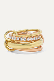 Spinelli Kilcollin Luna Champagne set of four 18-karat yellow and rose gold diamond rings