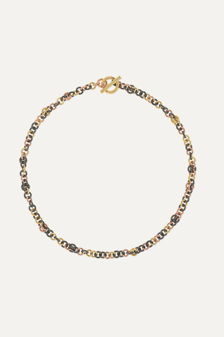 Gold Crux 18-karat yellow and rose gold and rhodium-plated sterling silver necklace | Spinelli Kilcollin BvScMv