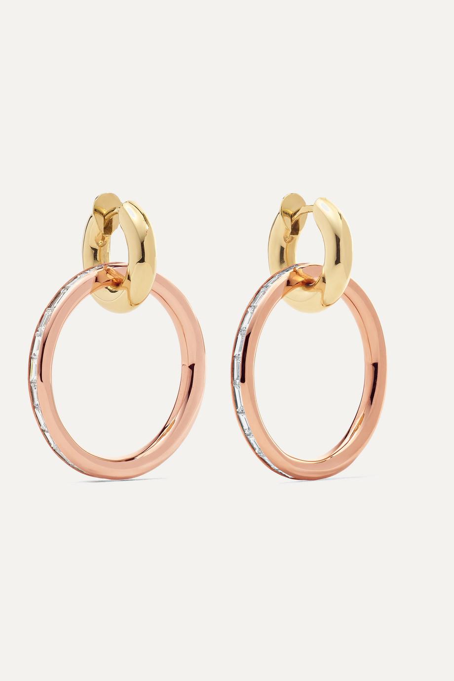Spinelli Kilcollin Theano 18-karat rose and yellow gold diamond hoop earrings