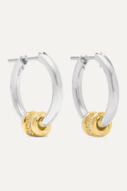 Ara sterling silver and 18-karat gold diamond hoop earrings