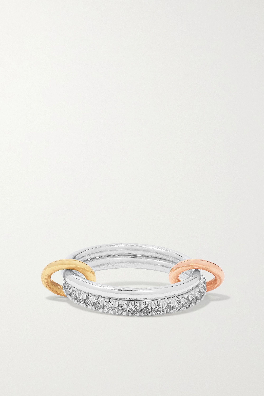 Spinelli Kilcollin Set de deux bagues en argent sterling, or jaune et rose 18 carats et diamants Marigold