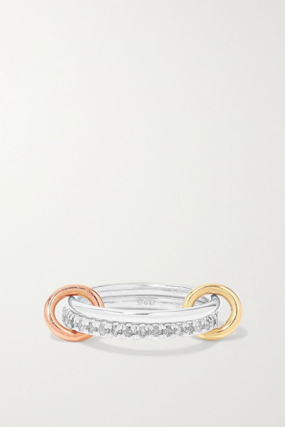 Spinelli Kilcollin Marigold Set aus zwei Ringen aus 18 Karat Gelb- und Roségold und Sterlingsilber mit Diamanten