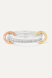Spinelli Kilcollin Marigold set of two sterling silver and 18-karat yellow and rose gold diamond rings