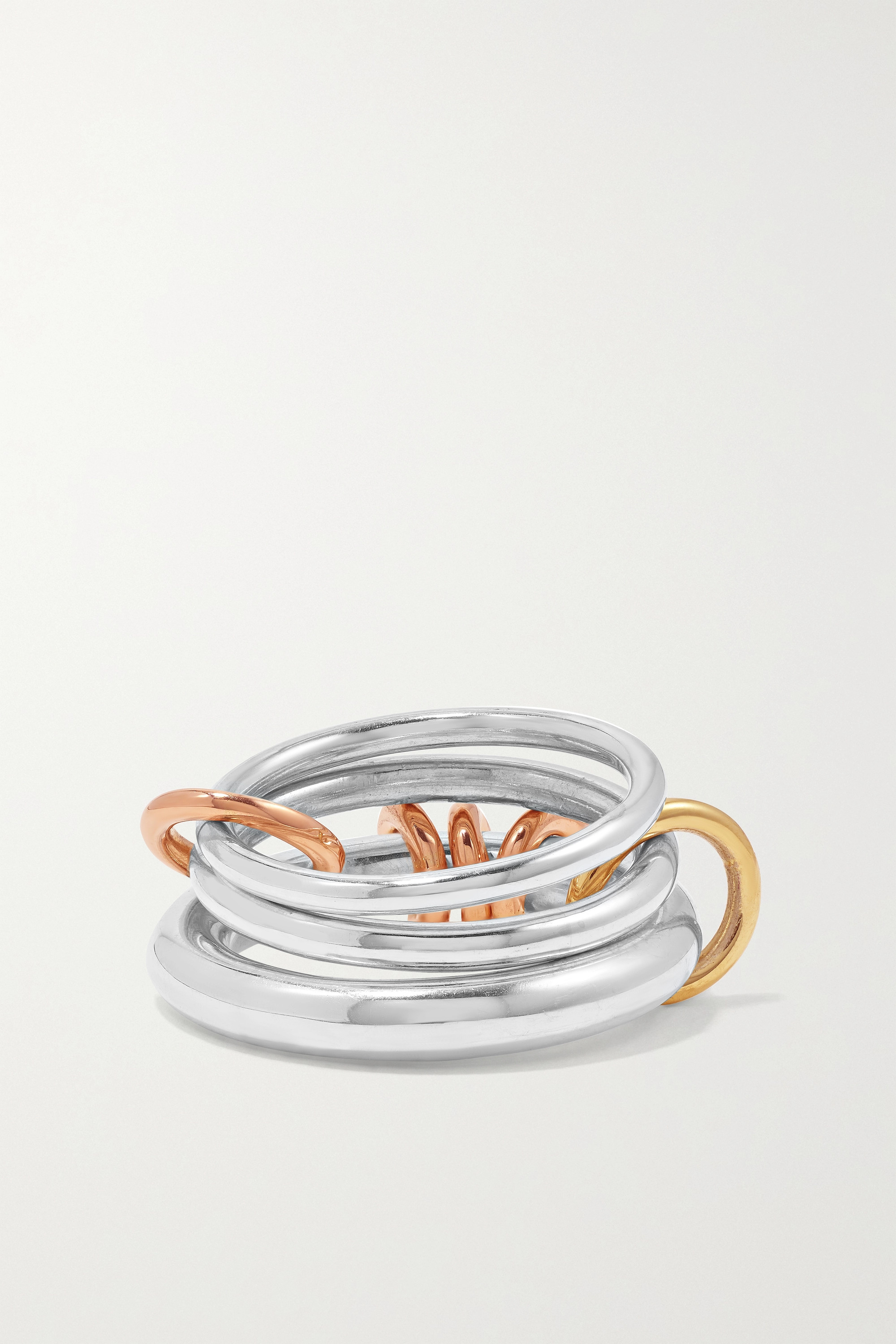 Spinelli Kilcollin Orion set of three sterling silver and 18-karat yellow and rose gold rings