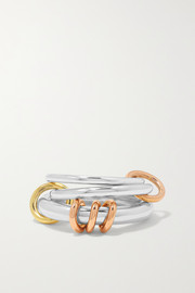 Orion set of three sterling silver and 18-karat yellow and rose gold rings