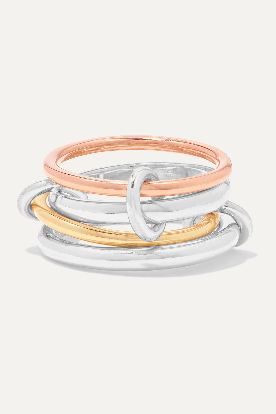 Spinelli Kilcollin Hyacinth set of four 18-karat yellow and rose gold and sterling silver rings