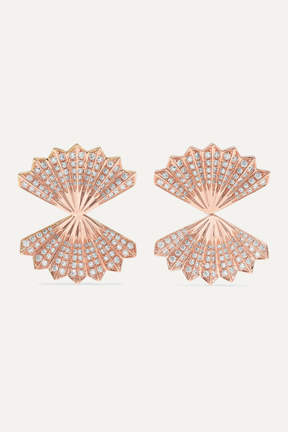 Anita Ko Double Fan 18-karat rose gold diamond earrings