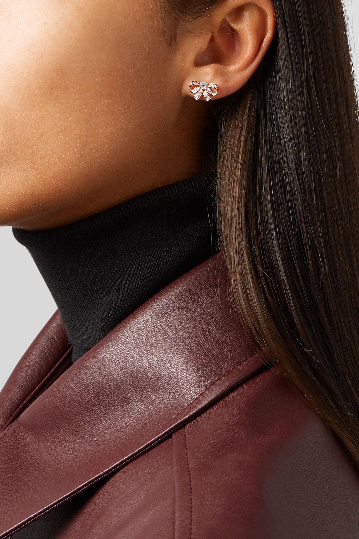 Rose Gold Bow 18-karat Diamond Earrings | Anita Ko