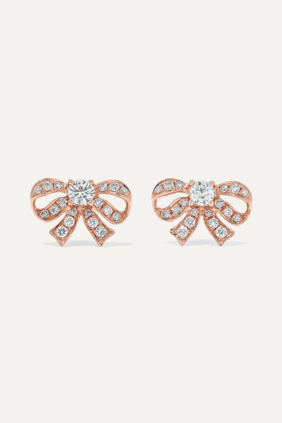 Anita Ko Boucles d'oreilles en or rose 18 carats et diamants Bow